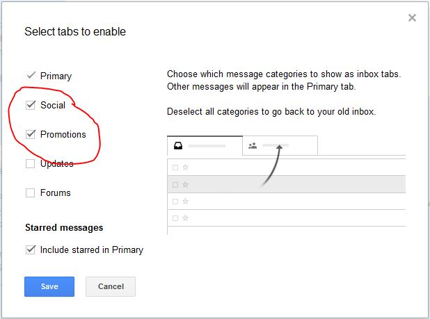 gmail tab settings