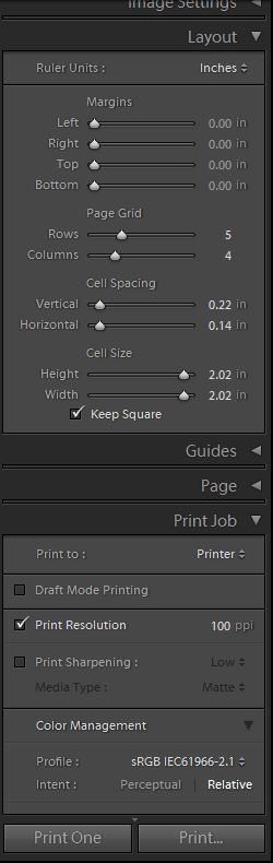 Lightroom layout settings