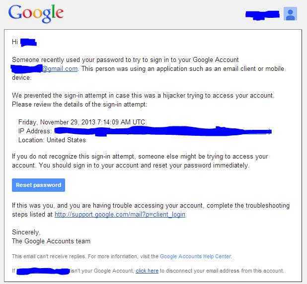 Google suspicious sign in prevented
