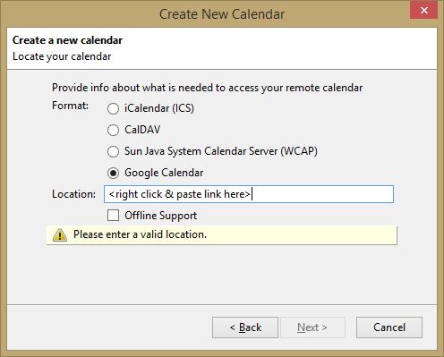 mozilla thunderbird new calendar google link