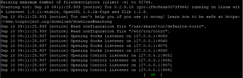 Start Tor Confirmation